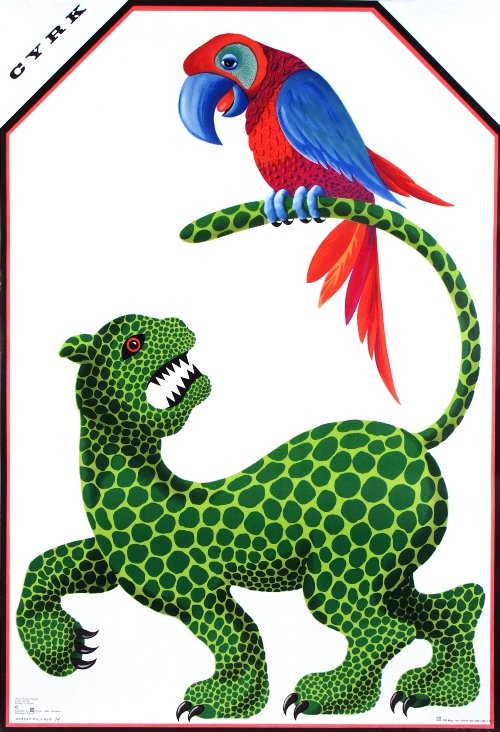 Hubert Hilscher Jaguar with Parrot, Polish Circus Poster