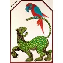 Circus Jaguar and Parrot Hubert Hilscher Polish Poster