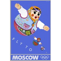Moscow 80 Moscow Fly To Moscow Leonard Konopelski Polish Poster