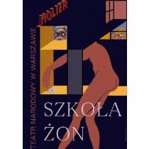 Critique of the School for Wives Molière Leonard Konopelski Polish Poster