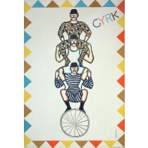 Circus 3 bathers on unicycle Jan Gruszczyński Polish Poster