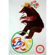 Circus Bear on Bicycle Jerzy Srokowski Polish Poster
