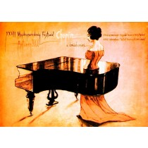 Festival Chopin in Autumn Leaves Bolesław Polnar Polish Poster