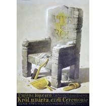 Exit the King Eugene Ionesco Wiesław Wałkuski Polish Poster