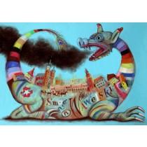 Wawel Dragon Cracow Smog Wawelski  Leszek Żebrowski Polish Poster