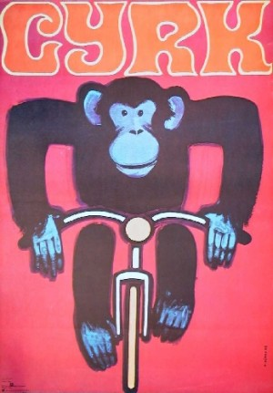 Circus Monkey on bicycle Wiktor Górka Polish Poster