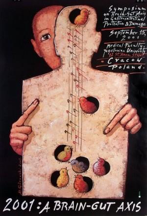 A Brain - gut axis Mieczysław Górowski Polish poster art