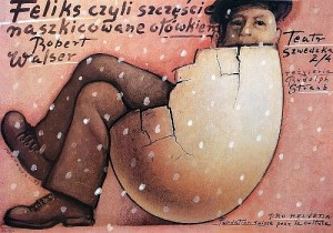 Felix or Happines sketched by pencil Mieczysław Górowski Polish theater poster