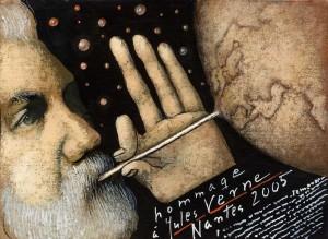 Hommage a Jules Verne Mieczysław Górowski Polish exhibition poster