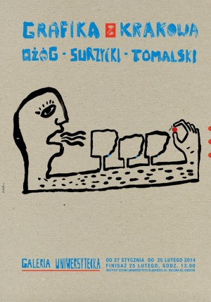 Graphics from Cracow - Ożóg, Surzycki, Tomalski Sebastian Kubica Polish exhibition poster