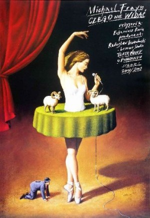 Noises Off Rafał Olbiński Polish theater poster