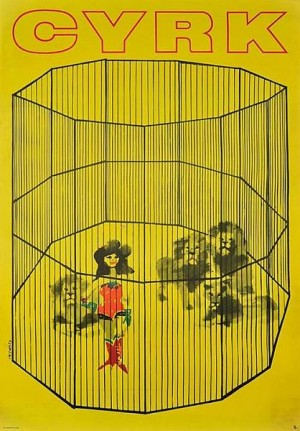 Circus Cage with Lions Waldemar Świerzy Polish circus poster