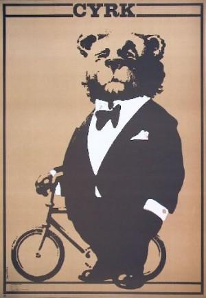 Circus Baer on bicycle Waldemar Świerzy Polish circus poster