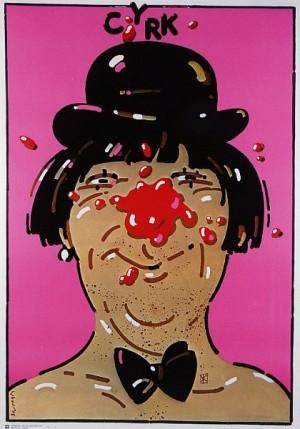 Circus blot nose Waldemar Świerzy Polish circus poster