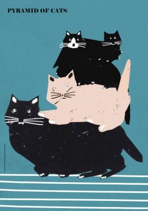 Pyramid of Cats  Polish Poster