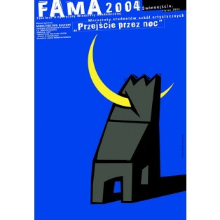 Fama 2004 Mirosław Adamczyk Polish Poster Art Advertising Tourism Travels Political Sport Judaica Posters