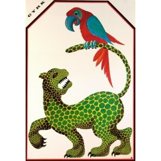 Circus Jaguar and Parrot Hubert Hilscher Polish Circus Posters