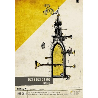 Heritage. 25th anniversary of the International Cultural Centre in Cracow Ryszard Kaja Polish Poster Art Advertising Tourism Travels Political Sport Judaica Posters