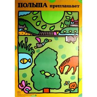 Poland invites you Jan Młodożeniec Polish Poster Art Advertising Tourism Travels Political Sport Judaica Posters
