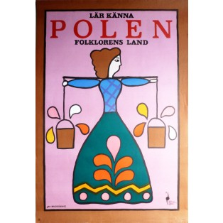 Visit Poland The land of folklore Jan Młodożeniec Polish Poster Art Advertising Tourism Travels Political Sport Judaica Posters