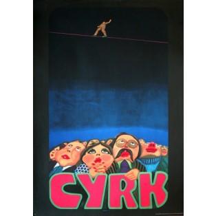 Circus Audience and tightrope Jan Sawka Polish Circus Posters