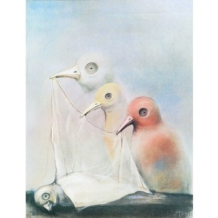 Funeral of a bird Stasys Eidrigevicius Polish Poster Art Advertising Tourism Travels Political Sport Judaica Posters