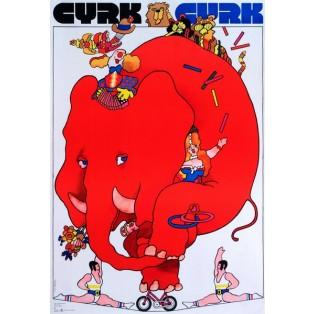 Circus Red Elephant Waldemar Świerzy Polish Circus Posters