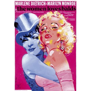 Marlene Dietrich and Marilyn Monroe The Women Loves Balds Waldemar Świerzy Polish Poster Art Advertising Tourism Travels Political Sport Judaica Posters
