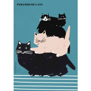 Pyramid of Cats Jakub Zasada Polish Poster Art Advertising Tourism Travels Political Sport Judaica Posters