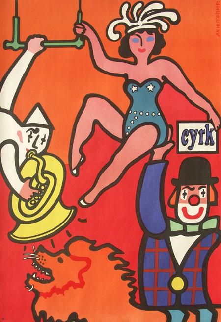 Zirkus. Artistin auf Clowns Arm.