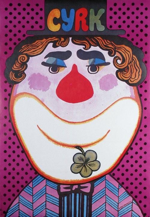 Plakat cyrkowy Cyrk Klown z kwiatkiem