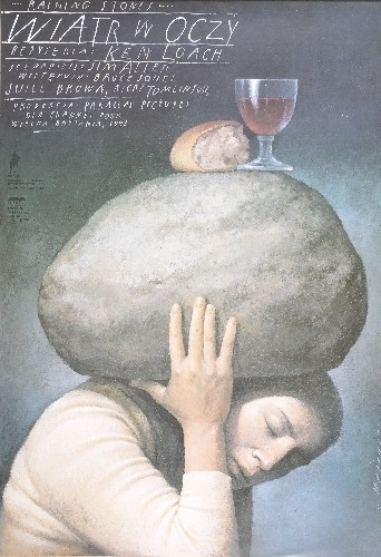 Wiatr w oczy Ken Loach Raining stones film poster