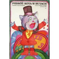 Gestiefelte Kater reist um die Welt Hiroshi Shidara Hanna Bodnar Polnische Plakate