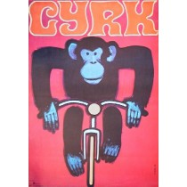 Zirkus Affe auf dem Fahrrad Wiktor Górka Polnische Plakate