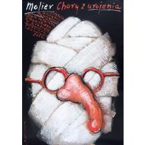 Eingebildete Kranke Moliere Mieczysław Górowski Polnische Plakate