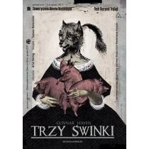 Drei Schweinchen von Gunnar Hayen Ryszard Kaja Polnische Plakate