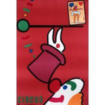 Zirkus Clown und Kaninchen Jan Młodożeniec Polnische Plakate