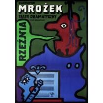 Schlachthof Sławomir Mrożek  Jan Młodożeniec Polnische Plakate