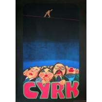 Zirkus Publikum und Drahtseilakt Jan Sawka Polnische Plakate