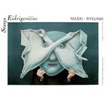 Masken Zeichnungen Galerie des Nowy-Theaters Warszawa Stasys Eidrigevicius Polnische Plakate
