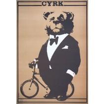 Zirkus Bär auf Fahrrad Waldemar Świerzy Polnische Plakate