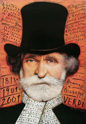Hommage a Giuseppe Verdi Mieczysław Górowski Polnisches Musikplakat