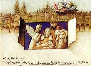Polnischer Volkskrippenwettbewerb in den Tuchhallen 1. Mieczysław Górowski Polnisches Ausstellungsplakat