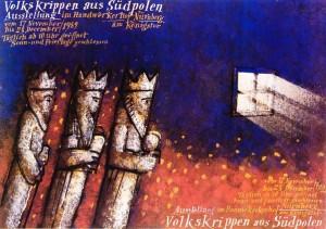 Volkskrippen aus Südpolen Mieczysław Górowski Polnisches Ausstellungsplakat