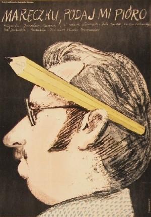Marecek, reichen Sie mir die Füllfeder Oldrich Lipsky Jacek Neugebauer Polnische Plakate