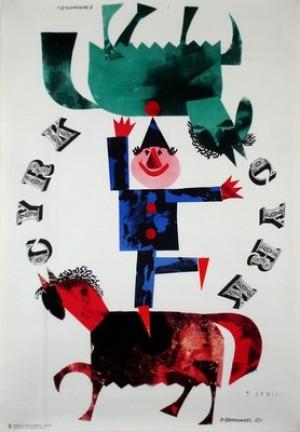 Zirkus Clown und Pferde Jerzy Srokowski Polnische Plakate