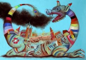 Wawel-Drache Krakau Polen Smog Wawelski  Polnische Plakate