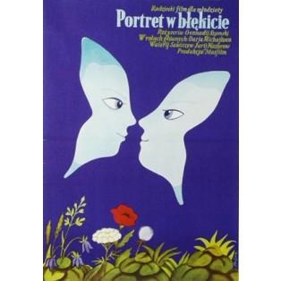 Blaue Porträt Jerzy Flisak Polnische Filmplakate