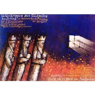 Volkskrippen aus Südpolen Mieczysław Górowski Polnische Ausstellungsplakate