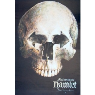 Hamlet William Shakespeare Wiesław Grzegorczyk Polnische Theaterplakate